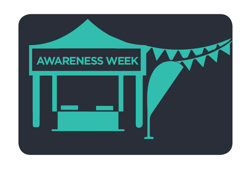 Awareness weeks image with a health stall