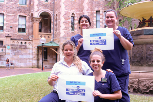 Sydney/Sydney Eye Hospital nurses holding up Nightingale Challenge 2020 signs