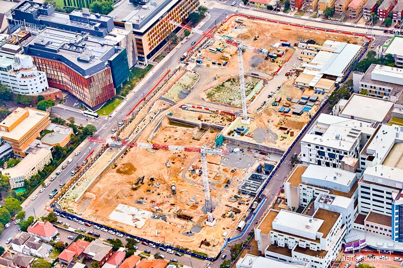 Birds eye view of the building site